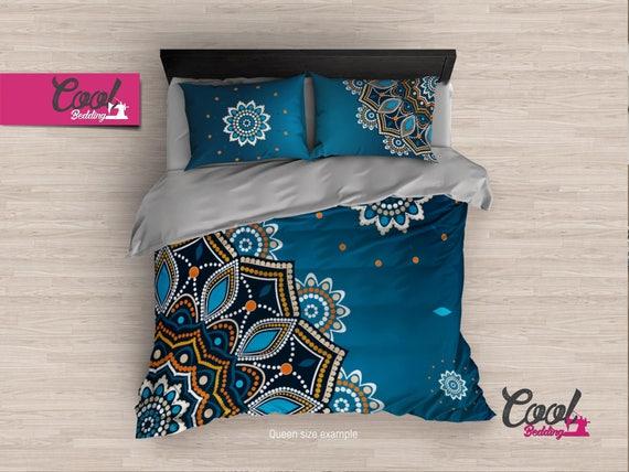 Blue Mandala Duvet Cover, Bohemian Bedding Set, Moroccan Duvet Cover Set, Deep Blue Bedding, Duvet Cover Twin, Full, Queen, King Redesign 12