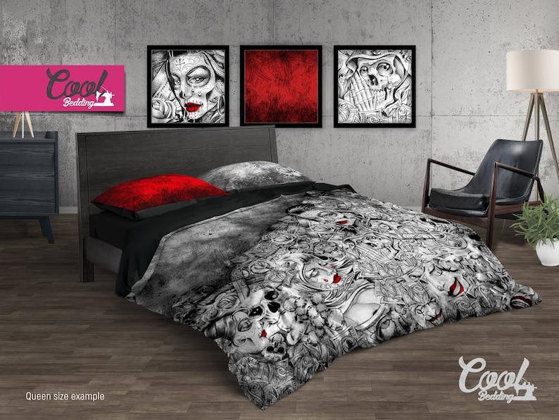 3d26f91c6842a Sugar Skull Bedding Set Skull Duvet Cover Skull Bedding | Etsy