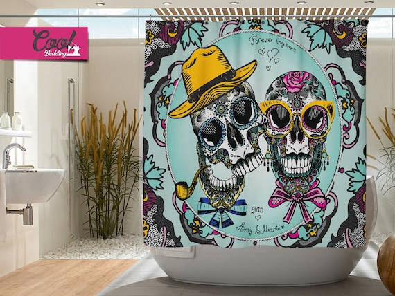 Sugar Skull Bathroom Decor | Personalized Shower Curtains Sugar Skulls Bath Curtain Etsy
