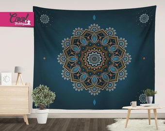 Blue Mandala Tapestry, Bohemian Wall Hanging, Mandala Wall Art, Boho Chic Tapestries, Shabby Chic Home Decor 12