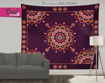 Mandala Wall Tapestry, Bohemian Wall Hanging, Mandala Sofa Throw, Boho Chic Wall Decor 66