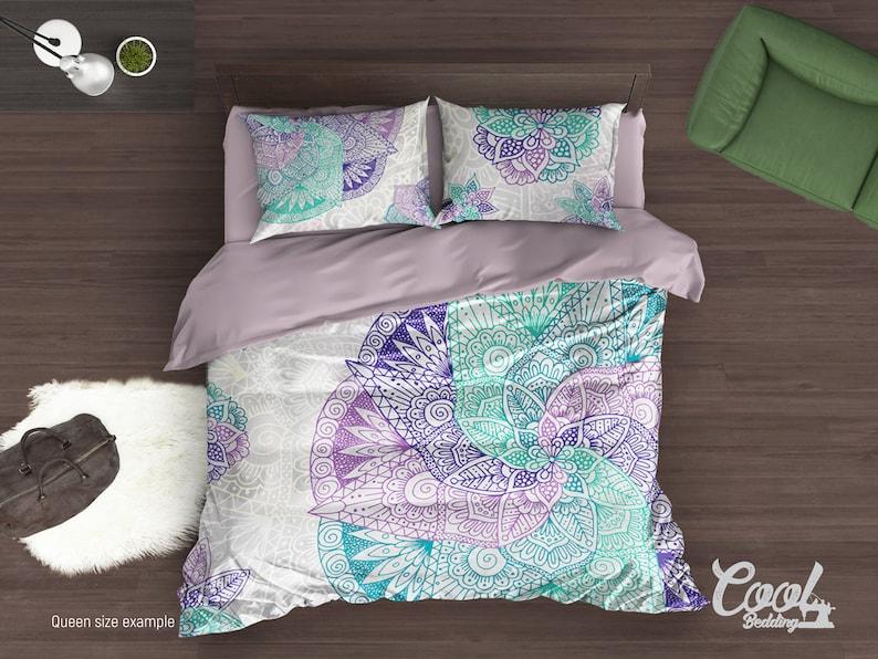 Boho Bedding set, Spiral Mandala Duvet Cover Set, Full Queen King Bedding, Home Interior 90