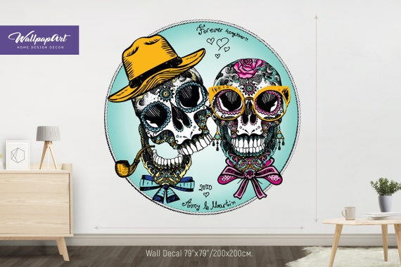 personalized wall decal sugar skull wall decals self | etsy