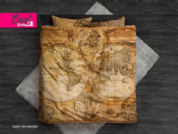 World Map Sheet Set.World Map Bedding Set Ancient Map Duvet Cover Set Vintage Etsy