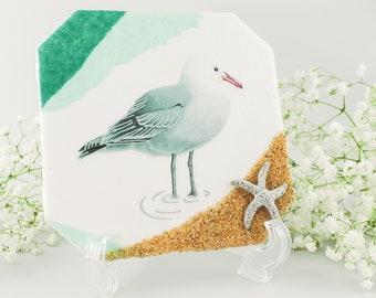 "/""SEAGULL AT SUNSET/"" SUMMER BEACH BIRD GULL GLASS TILE PENDANT NECKLACE KEYRING"