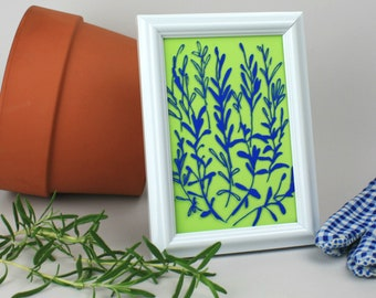 Drawing of Rosemary Plant, Rosemary Herb Art for Kitchen, Unique Hostess Gift Under 20, Rosemary on Glass, Herb Gardening Home Decor