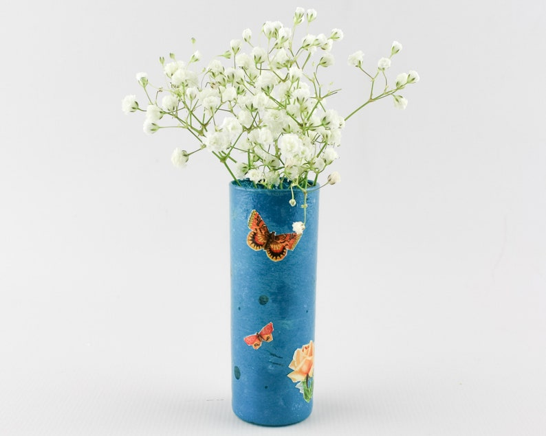Bud Vase  Blue with Decoupaged Butterflies and Roses image 0