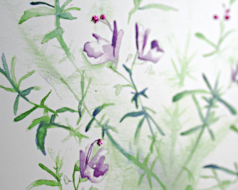 Flowering Rosemary Sparkly Botanical Card Rosemary Plant Greeting Card Green and Purple Watercolor Printed Card