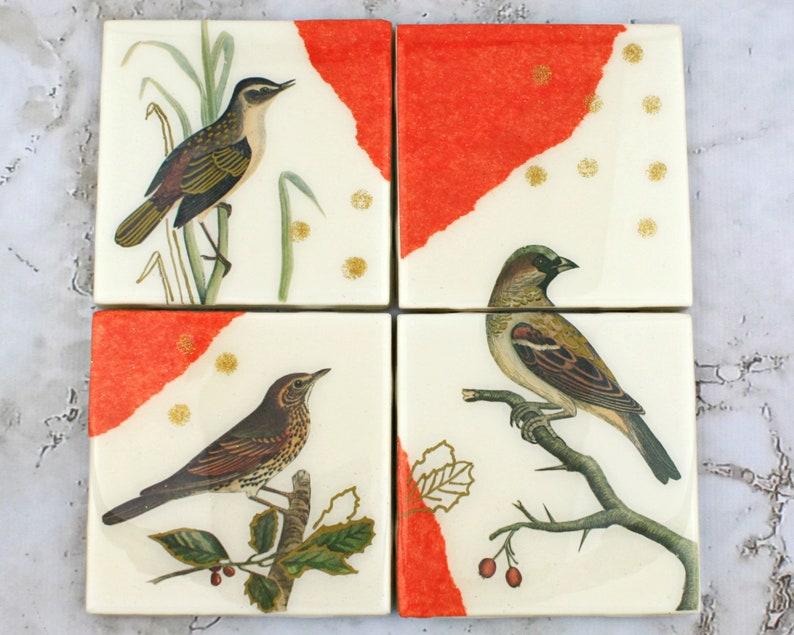 Christmas Resin Tile Coasters Winter Bird Mixed Media Art image 0