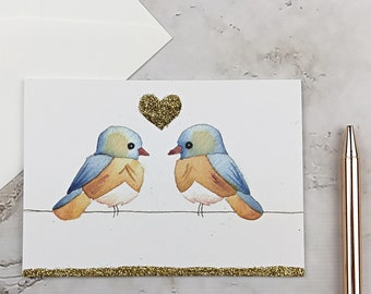 Sparkly Bluebird Valentine's Day Greeting Card, Watercolor Lovebirds Print
