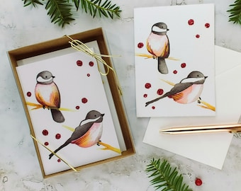 Chickadee Christmas Cards - Set of 8, Sparkly Holiday Greeting Cards, Winter Bird Watercolor Print Card with Sparkles