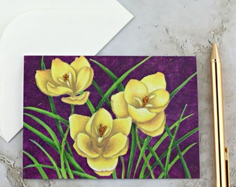 Crocus Greeting Card, Yellow and Purple Floral Decoupage, Colored Pencil Print Blank Card