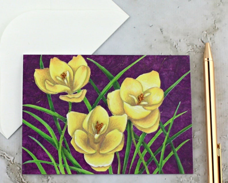 Crocus Greeting Card Yellow and Purple Floral Decoupage image 0