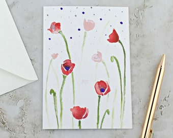 Poppies Greeting Card A6, Red Poppies Watercolor Card, Red and Purple Flowers Painting, Spring Greeting Card
