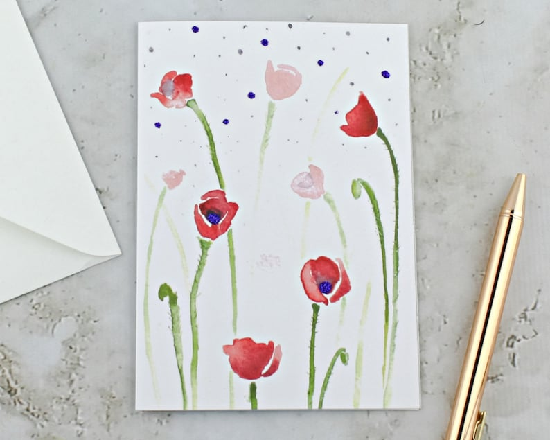 Poppies Greeting Card A6 Red Poppies Watercolor Card Red and image 0