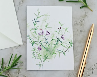 Rosemary Plant Greeting Card, Flowering Rosemary, Sparkly Botanical Card, Green and Purple Watercolor Printed Card