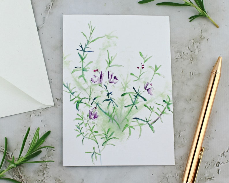 Rosemary Plant Greeting Card Flowering Rosemary Sparkly image 0