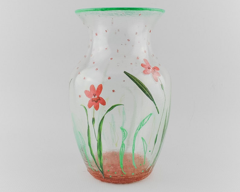 Glass Flower Vase with Decoupage Mixed Media Collage image 0