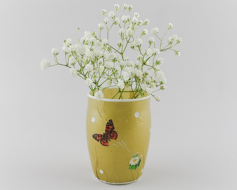 Bud Vase  Gold with Botanical Decoupaged Images Roses and image 0