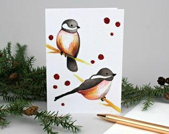 Chickadee Christmas Card, Sparkly Holiday Greeting Card, Winter Bird Watercolor Print Card