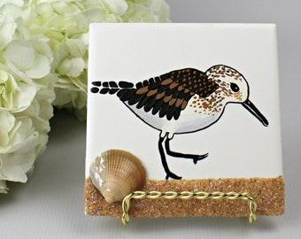 Sandpiper Beach Bird Painting, 4x4 Decorative Tile to Hang, Beachy Home Decor Gift, Coastal Beach House Decor Bird, Ocean Bird Tile Art