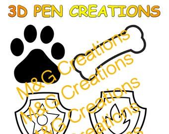 3D Pen stencil creations - download 3D pen templates printable - PAW PATROL