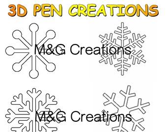 3D Pen stencil creations - download 3D pen templates printable - Frozen - Snowflakes