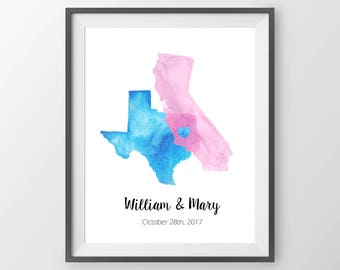 Wedding Guest Book Alternative - Watercolor States Guestbook, State Sign In Board, Two State Guest Book, Watercolor print, Wedding Art