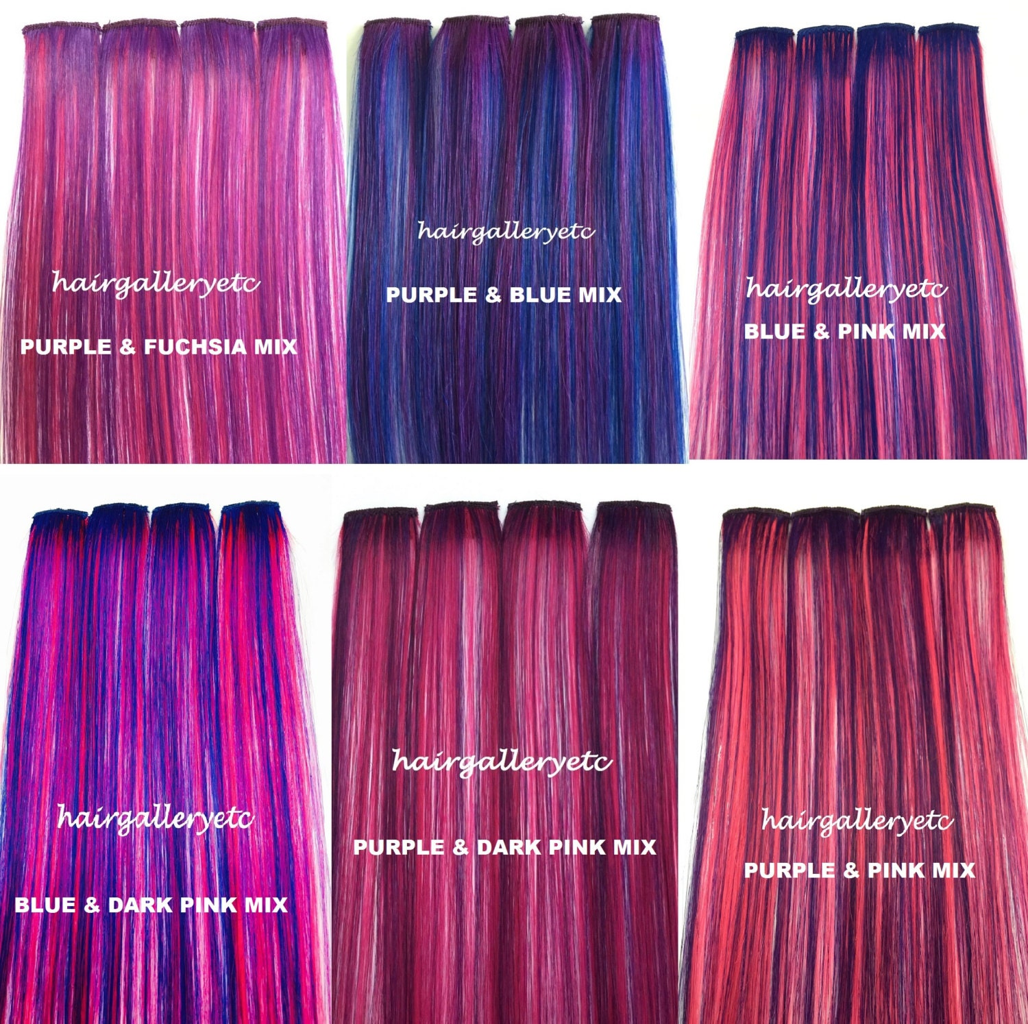 12 Long Multi Color Clip In 100 Human Hair Extensions 4 Etsy