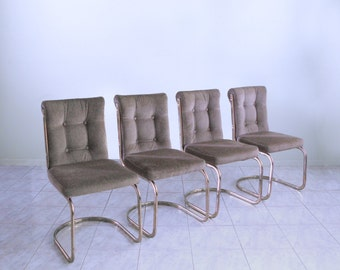53a1c8f27d37 mid century FLAT BAR BRASS cantilever dining chairs minimalist hollywood  regency set of 4