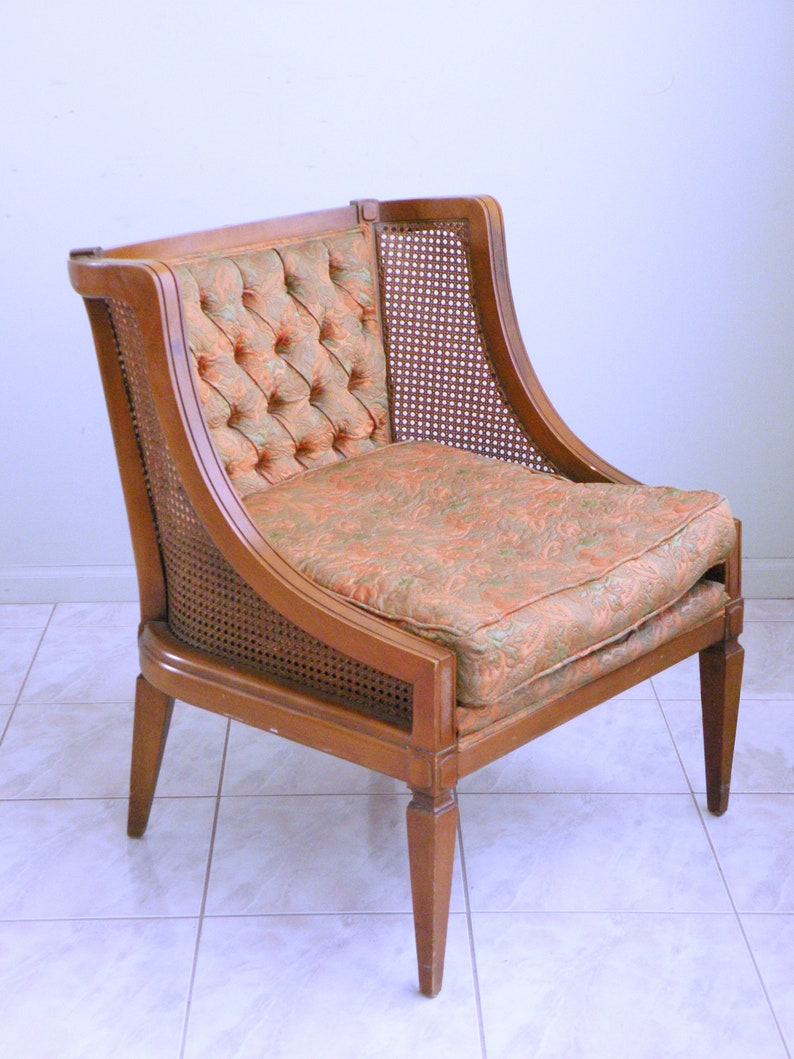 Mid Century CANE French Provincial Chair Neoclassical Hollywood Regency  LOUIS XVI Slipper Chair