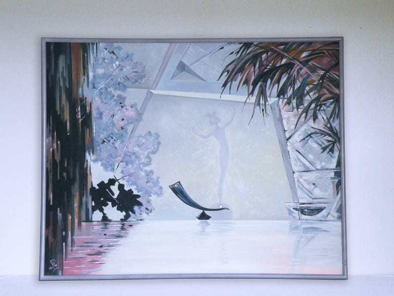 HUGE post modern painting Art DECO avant garde SURREALIST dreamy abstract  by R dated 1992