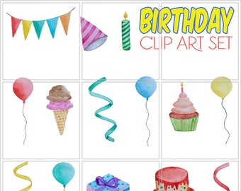 birthday clip art set watercolor hand painted printable cake cupcake balloons decor party hat gift banner jpeg png