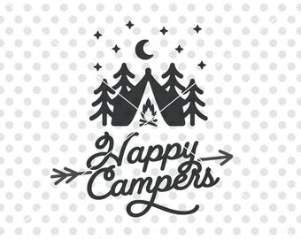 Happy Campers SVG DXF Cutting File Camper Svg Camping Cut Vector Clip Art
