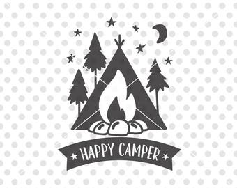 Happy Camper SVG DXF Cutting File Svg Camping Cut Vector Clip Art Campers