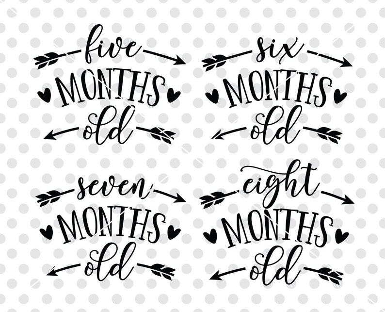 Two Months Svg Birthday Month Svg Cutting File One Month Svg Age Months Baby SVG DXF Cutting File Baby Onesie SVG Dxf Cut File
