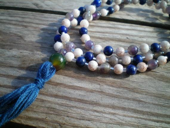 Blue Druzy Lapis Lazuli Opalite Mala