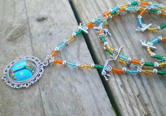 Mookaite GIFT for her unique jewellery set memory wire bracelet Boho jewellery strange jewelry Bronzite Snail necklace set Goldstone