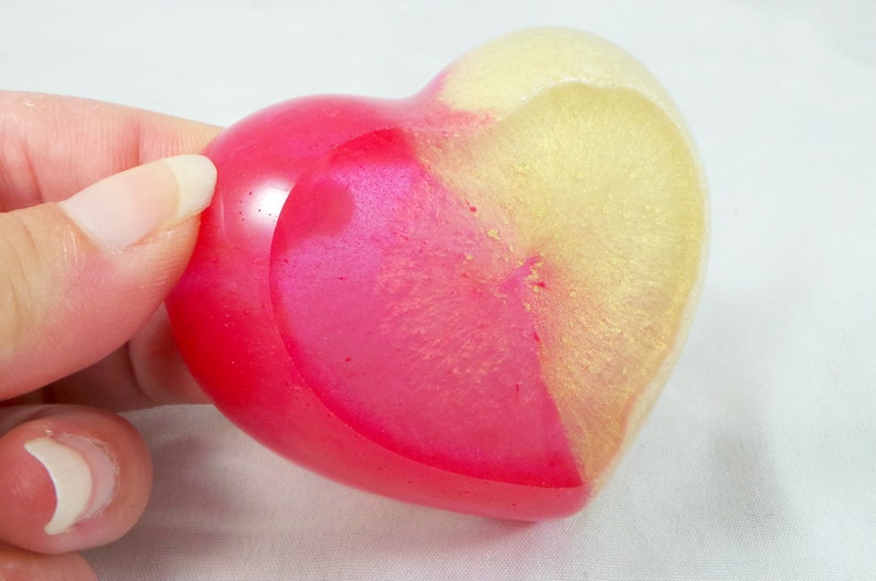 heart bowl jewelry dish gift for her trinket bowl Pink and gold heart shaped trinket dish resin heart ring dish pink heart heart dish