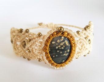 anklet micro macrame semi-precious stone jewelry gypsy hippie boho festival wear handmade