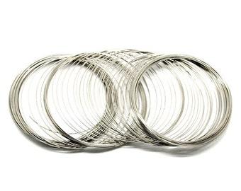 20 x Bobines Boucles Bracelet en acier mémoire Fil Diamètre 55 mm x 1 mm couleur Argent
