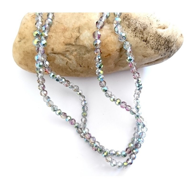 90 faceted crystal glass beads 4 x 3 mm