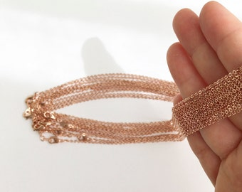 """17.5"""" Necklace chains bulk 10 Pcs, Delicate Cable chains shiny Rose gold chain Jewelry Necklace Chain Bulk Chain wholesale jewelry 10PCHN-R"""