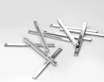 10Pcs Personalized Silver Long Vertical Pendant, Stamping Blank Bar, Ready to Stamp, Jewelry Supply, Necklace Supplies 10P13-S