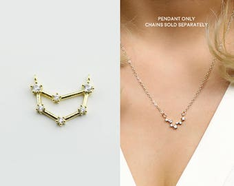 Gold Plated Capricorn Constellation Pendant Crystal Zodiac Constellation Connector MignonandMignon Constellation Necklace - GZCP-CA