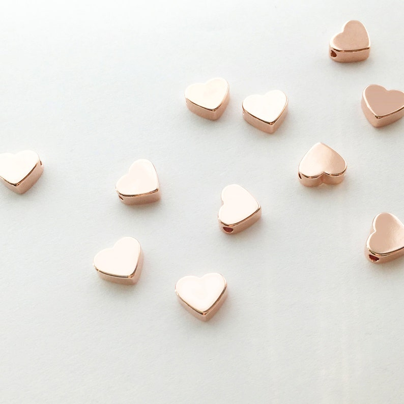 10 Hand Stamp Rose gold Heart Charms Polished Rose Gold Plated image 0