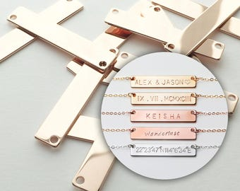 10 Bar Pendant Personalized Stamping Blank Bar, 16K Rose gold plated brass, Jewelry Supply, Craft Supplies, Name plate 10P4-R