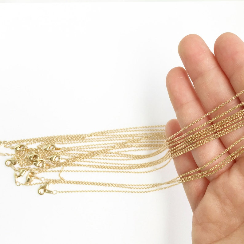 10 pcs DAINTY necklace chain Brass Chain Bar Chain Gold image 0