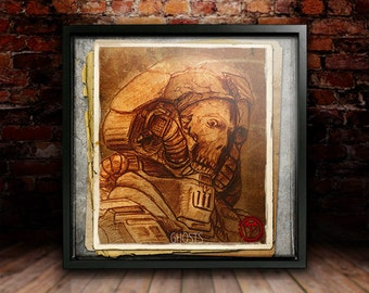 Ghost Art Print, Square Print, Heavenfield, Dark Science-Fiction, Gift, Wall Art, Digital Print by the Author IG Hulme
