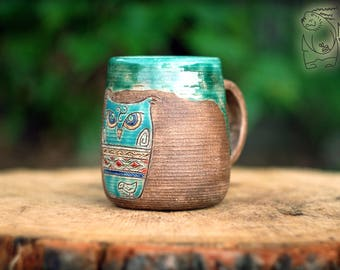 Green Owl ceramic mug Large pottery teacup 13 Oz 11 Oz Cute handmade huge coffee cup Warming coffee gift for mother Birthday present